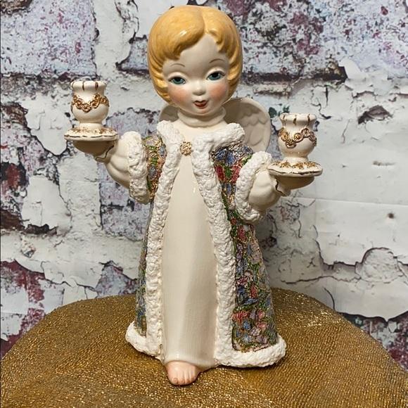 Vintage ceramic Angel candle holder